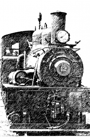 OLD STEAM TRAIN-grapite pen effect