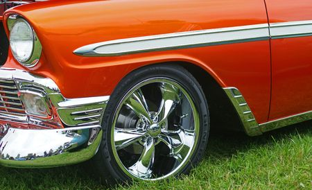 car grill: OLD CHEVY FRONT FENDER Stock Photo