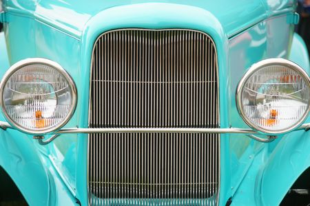 OLD TEAL GRILL AND HEAD LIGHTS Stok Fotoğraf