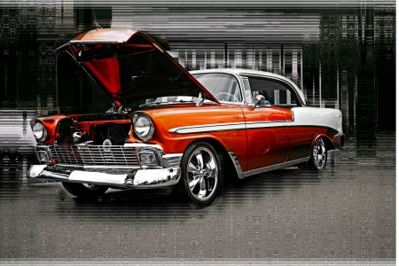 classic cars: OLD ORANGE CHEVY Editorial