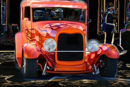 炎のオレンジ色のホット ロッド