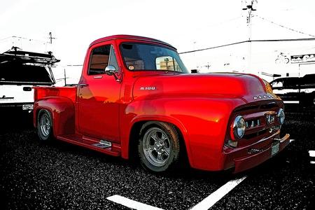 custom car: OLD RED MERCURY PICK UP