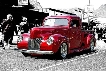 custom car: RED CUSTOM PICK UP TRUCK