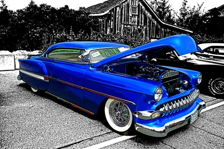 BLUE CUSTOM HOT ROD
