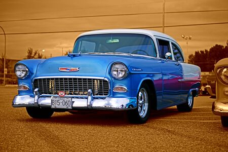 custom car: BLUE CHEVY WITH SEPIA BACKGROUND Editorial