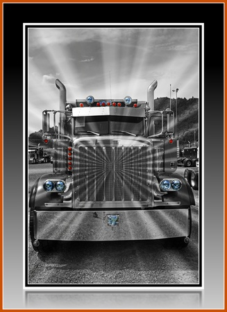 B&W KENWORTH WITH STARBURST