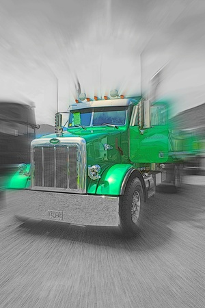 dump truck: GREEN PETERBILT DUMP TRUCK