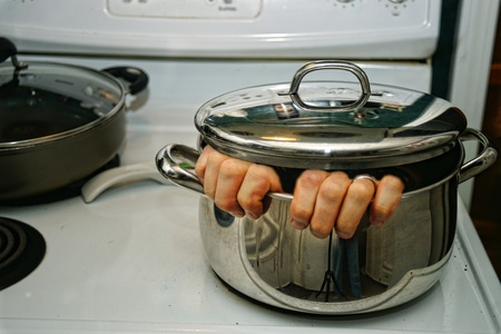trapped: TRAPPED IN THE POT Stock Photo