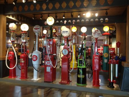 Great collection of old gas pumps.