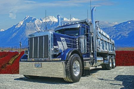Peterbilt Dump Truck in the Mountains Editorial