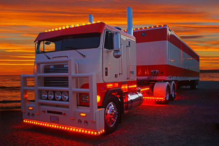 freightliner: Freightliner Cabover at the Beach