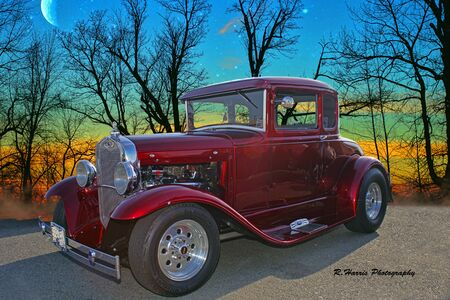Candy apple Ford Hot Rod at Dusk