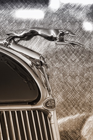 chrome: Great classic Ford hood ornament Stock Photo