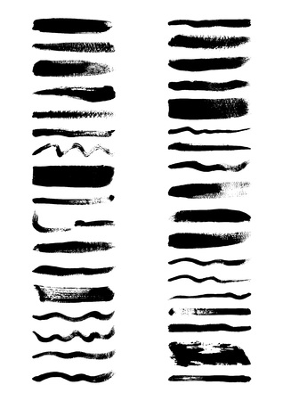 Vector set of freehand grunge brushes in black paint