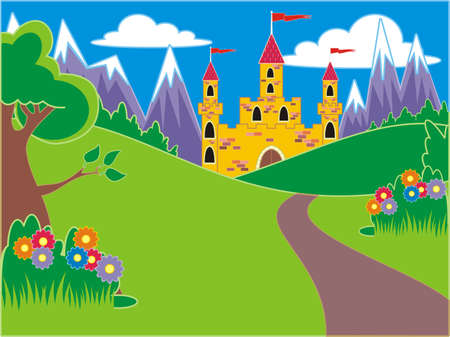 Castle with mountains Illustration