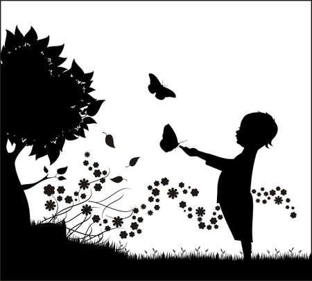 silhouettes of children: Boy with butterfly Illustration