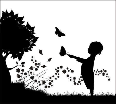 silueta hoja: Chico con mariposa  Vectores