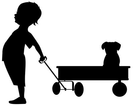 children silhouettes: Boy with wagon
