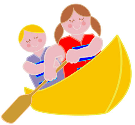 Two youths in a canoe Illustration