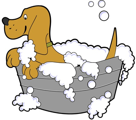cartoon illustration of a happy dog taking a bath in a tub of soapy water Stock Vector - 9340938
