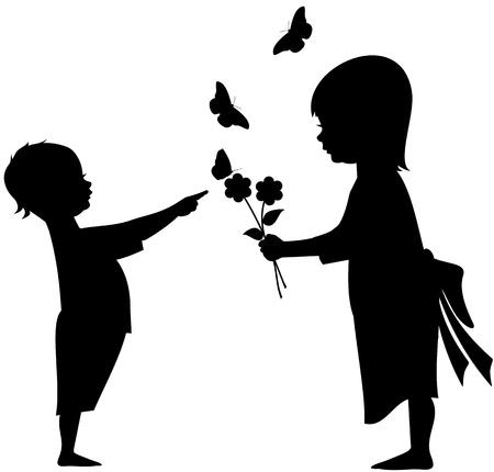 silueta: Silueta de ilustraci�n de dos hijos, un chico y una chica jugando con flores, mariposas y un gatito