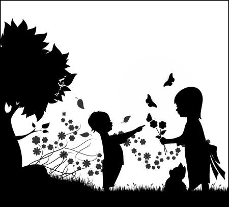silueta ni�o: Silueta de ilustraci�n de dos hijos, un chico y una chica jugando con flores, mariposas y un gatito