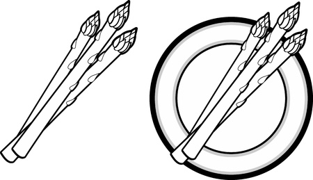 Black and White vector illustration of asparagus on a plate.  Nutritious and delicious.
