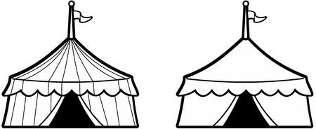 entertainment tent: Ilustraci�n aislada de una carpa de circo peque�o con rayas