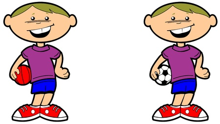 cartoon illustration of a kid or child holding a ball and smiling Illustration