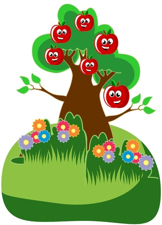 Vector illustration of smiling happy apples on an apple tree Vector