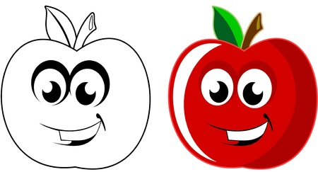 Vector illustration of smiling happy apples Illustration