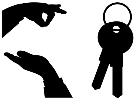 Illustrated hand silhouettes exchanging house keys Vector