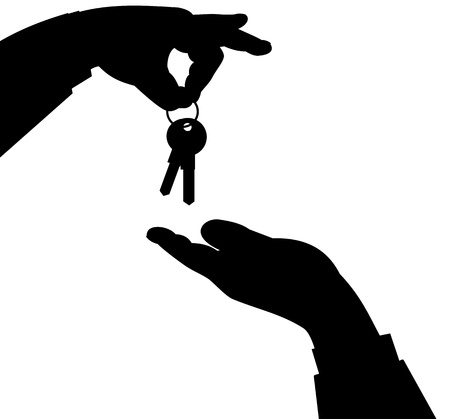 house exchange: Illustrated hand silhouettes exchanging house keys