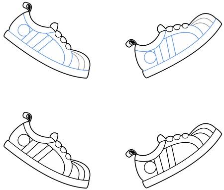 running shoe: Illustrazione vettoriale di cartone animato, scarpe da corsa in un movimento a piedi