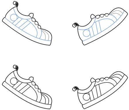 Vector illustration of cartoon running shoes in a walking motion  Vector