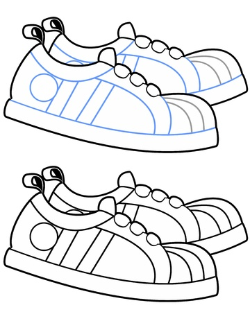 running shoes: Vector illustration of cartoon running shoes in a walking motion  Illustration