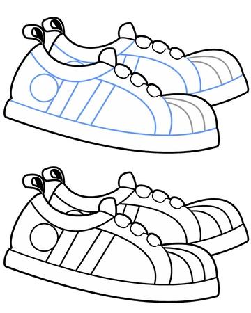 Vector illustration of cartoon running shoes in a walking motion  Illustration