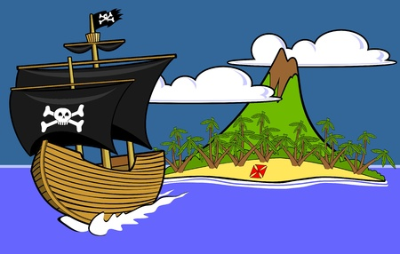 buried: Pirate ship sailing away from buried treasure