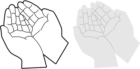 Cartoon vector illustration of hands cupped together