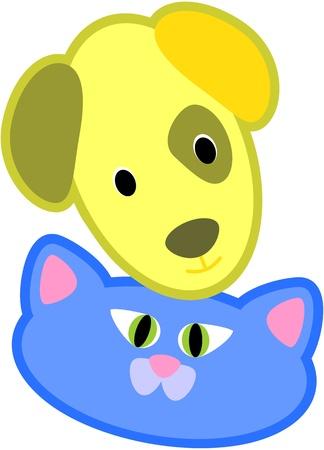 Cartoon vector illustration of a cat and dog head