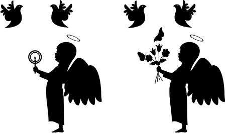 Silhouette vector illustration of a child angel holding flowers and a candle. Isolated on white  Vector