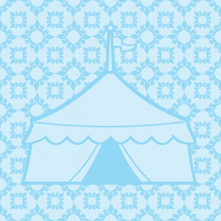 tent vector: Vintage antique vector illustration with a patterned background and a silhouette of a circus tent