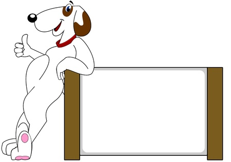 Happy dog leaning against a blank sign smiling with a thumbs up. Prefect for dog training or dog grooming or pet related business  Stock Vector - 16579016