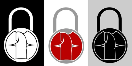 Security lock with lips and finger for security and secrecy Illustration