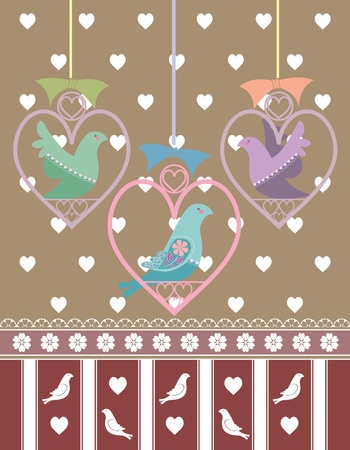 Vector illustration of a valentine theme with hearts and birds with a vintage or retro motif