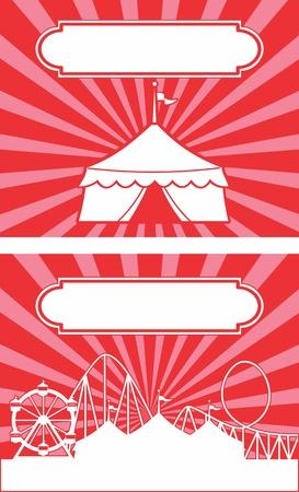 show bill: Carnaval tem�tica de circo carpa con las rayas y bandera Ideal para un r�tulo o anuncio