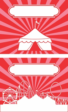 Carnival themed circus tent with stripes and banner  Ideal for a sign or advertisement  Vector