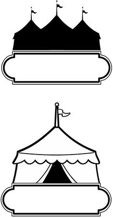 entertainment tent: Circo carpa con letrero estilo marquesina ideal para promover un evento o uso comercial o como un signo de carnaval Vectores