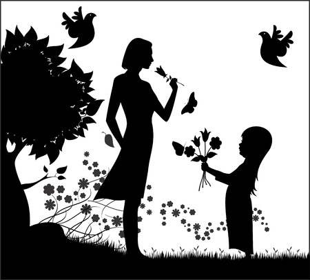 Vector silhouette of woman with small child and flowers  Vector