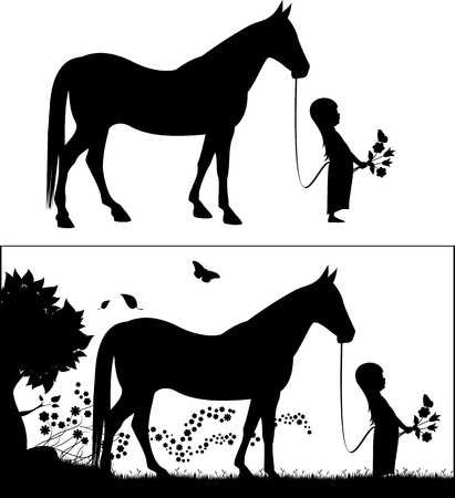 in the black: Young female black silhouette with a horse  Illustration